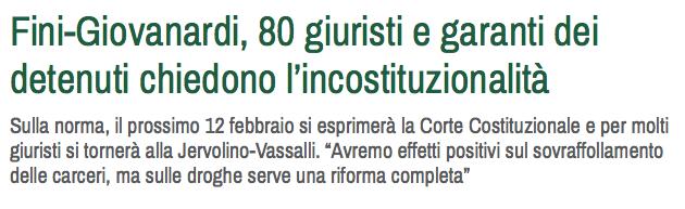 Fini-Giovanardi, 80 giuristi e garanti dei detenuti chiedono l'incostituzionalità