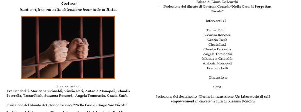1 dicembre a Milano: Recluse. Studi e riflessioni sulla detenzione femminile in Italia