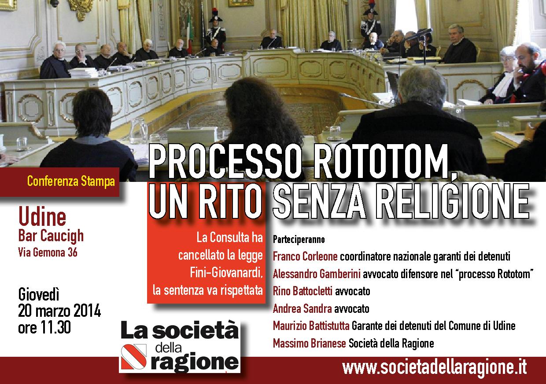 Conferenza stampa a Udine de La Società della Ragione in occasione dell'udienza del processo Rototom